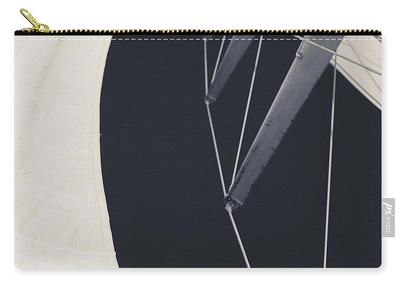 Sails Carry-all Pouch featuring the photograph Obsession Sails 9 Black And White by Scott Campbell