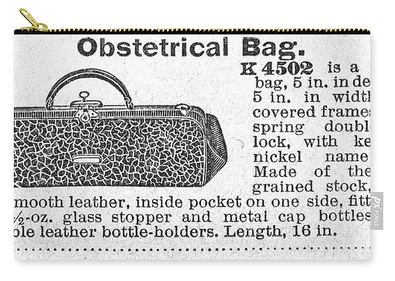 1890s Carry-all Pouch featuring the photograph Obstetrical Bag, C1900 by Granger