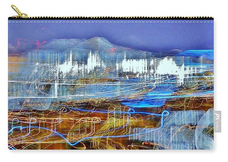 Ocean City Carry-all Pouch featuring the photograph Ocean City Maryland At Night - Blue by Kim Bemis
