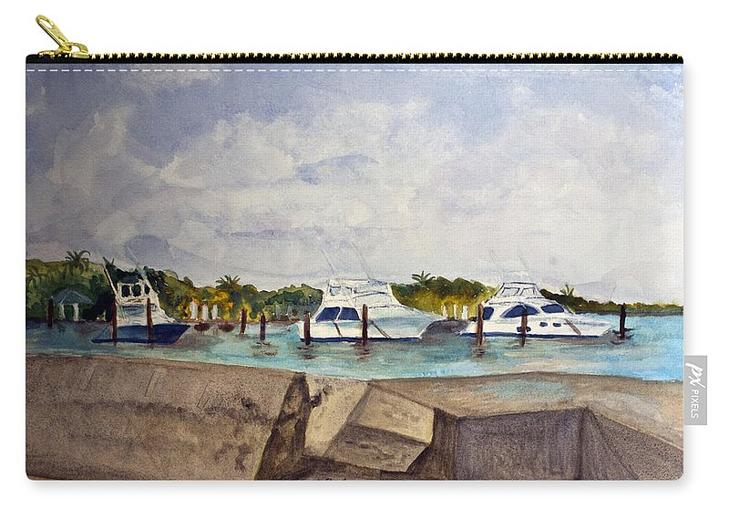 Ocean Inlet Carry-all Pouch featuring the painting Ocean Inlet Marina by Donna Walsh
