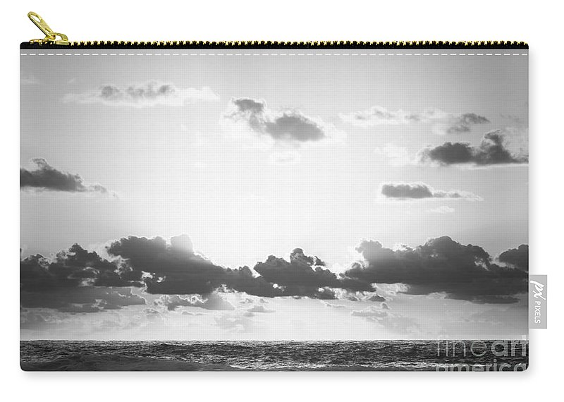 Black And White Carry-all Pouch featuring the photograph Ocean Sunrise Black And White by Tim Hester