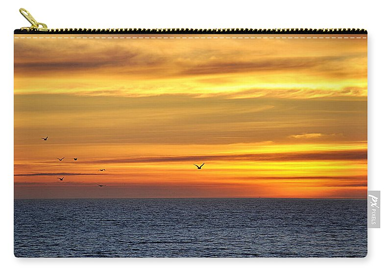 Scenic Carry-all Pouch featuring the photograph Ocean Sunset by AJ Schibig