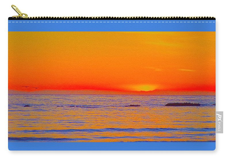 Seascape Carry-all Pouch featuring the photograph Ocean Sunset In Orange And Blue by Ben and Raisa Gertsberg
