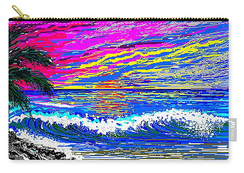 Ocean Sunset Quickly Sketched In One Hour. Carry-all Pouch featuring the digital art Ocean Sunset by Larry Lehman