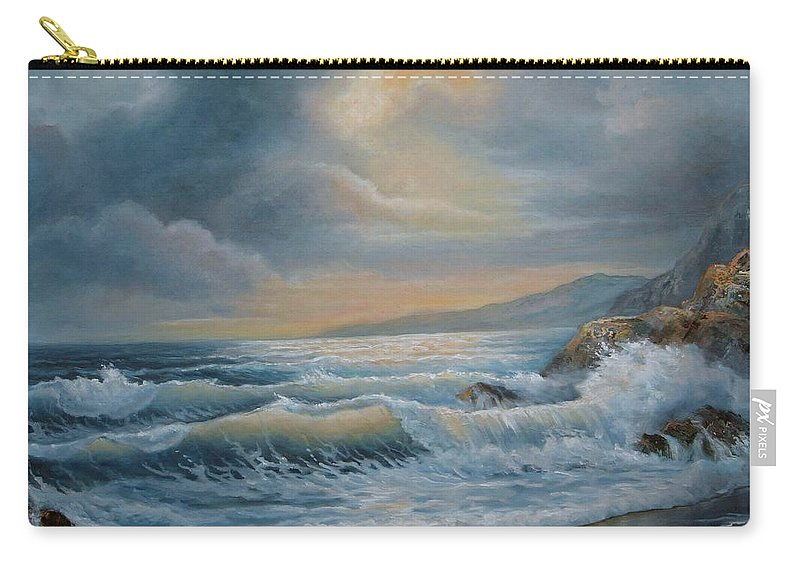 Ocean Under A Stormy Sky Seascape Oil Painting Carry-all Pouch featuring the painting Ocean Under The Evening Glow by Regina Femrite