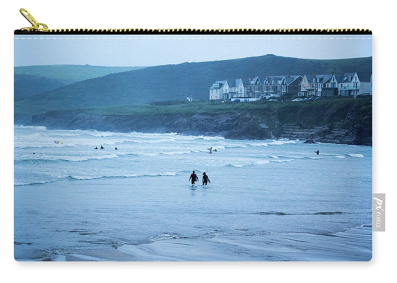 Built Structure Carry-all Pouch featuring the photograph October Evening Surf by Landscapes, Seascapes, Jewellery & Action Photographer