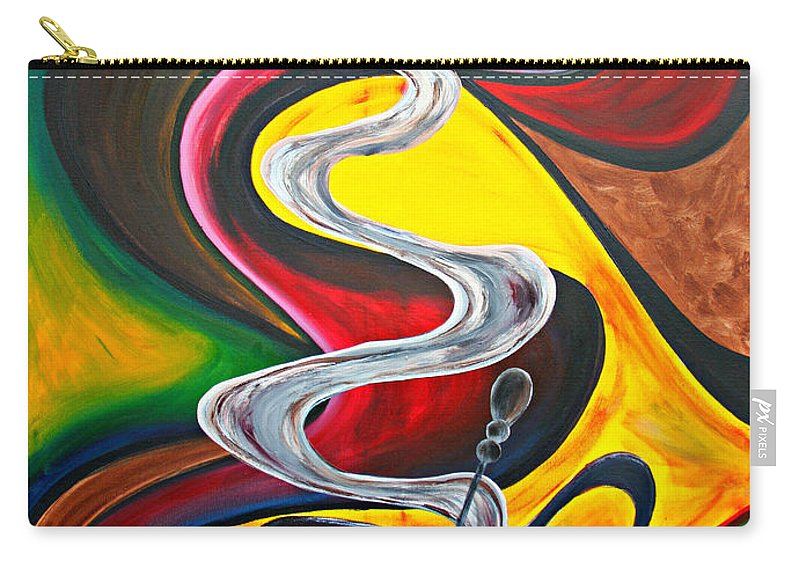 Coffee Carry-all Pouch featuring the painting Ode To Coffee... by Jolanta Anna Karolska