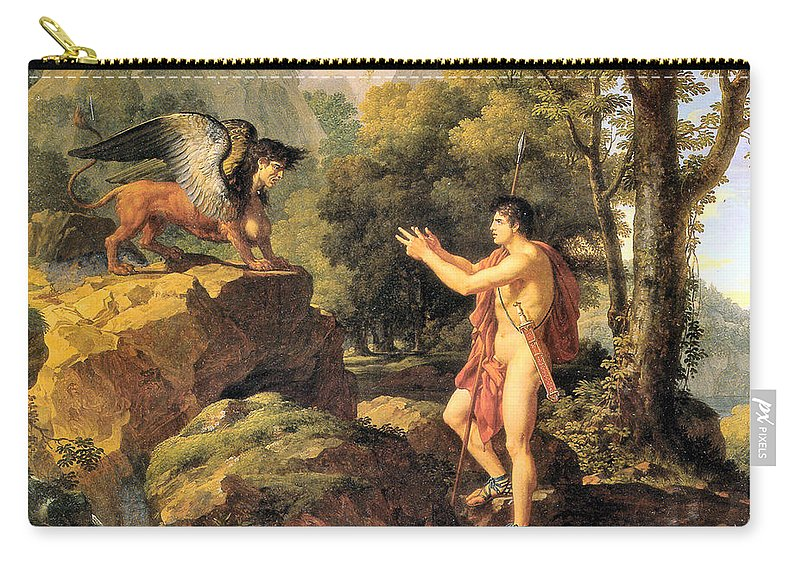 Fran�s Xavier Fabre Carry-all Pouch featuring the digital art Oedipus And The Sphinx by Frans Xavier Fabre