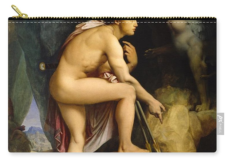 1864 Carry-all Pouch featuring the painting Oedipus And The Sphinx by Jean-Auguste-Dominique Ingres