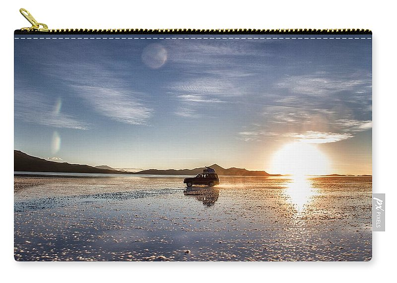 Uyuni Carry-all Pouch featuring the photograph Off Road Uyuni Salt Flat Tour Dramatic by For Ninety One Days