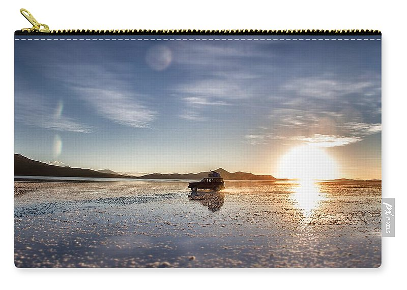 Uyuni Carry-all Pouch featuring the photograph Off Road Uyuni Salt Flat Tour Select Focus by For Ninety One Days