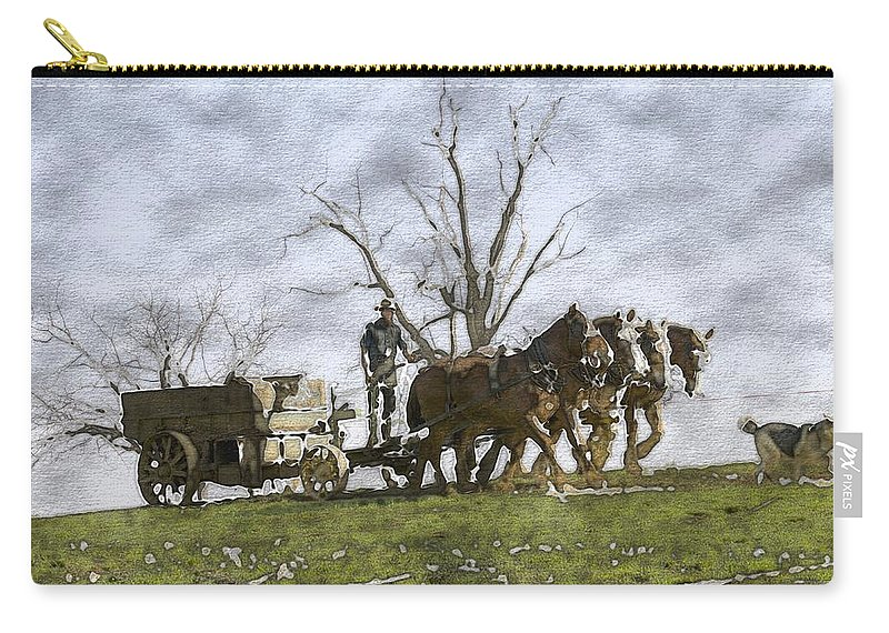 Horses Carry-all Pouch featuring the photograph Off To The Field by Alice Gipson