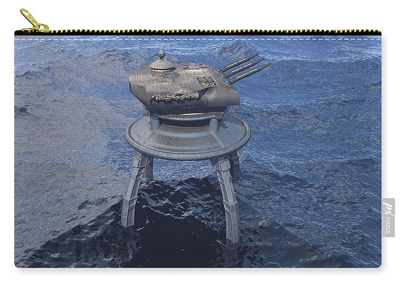 Digital Art Carry-all Pouch featuring the digital art Offshore Turret by Michael Wimer