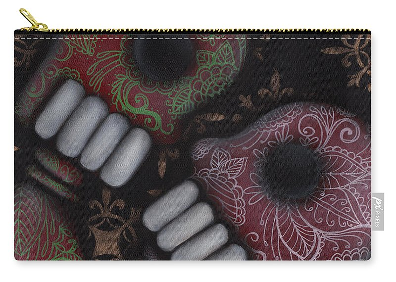 Day Of The Dead Carry-all Pouch featuring the painting Oh El Amor by Abril Andrade Griffith