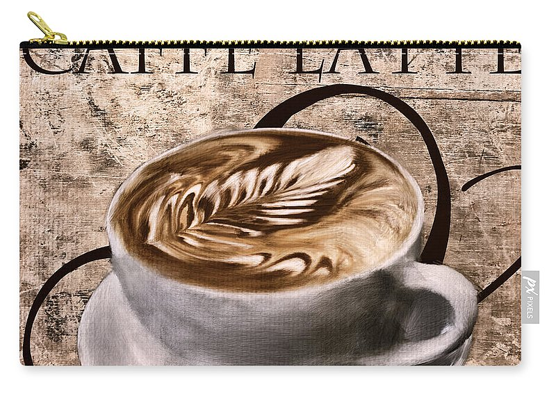 Coffee Carry-all Pouch featuring the digital art Oh My Latte by Lourry Legarde