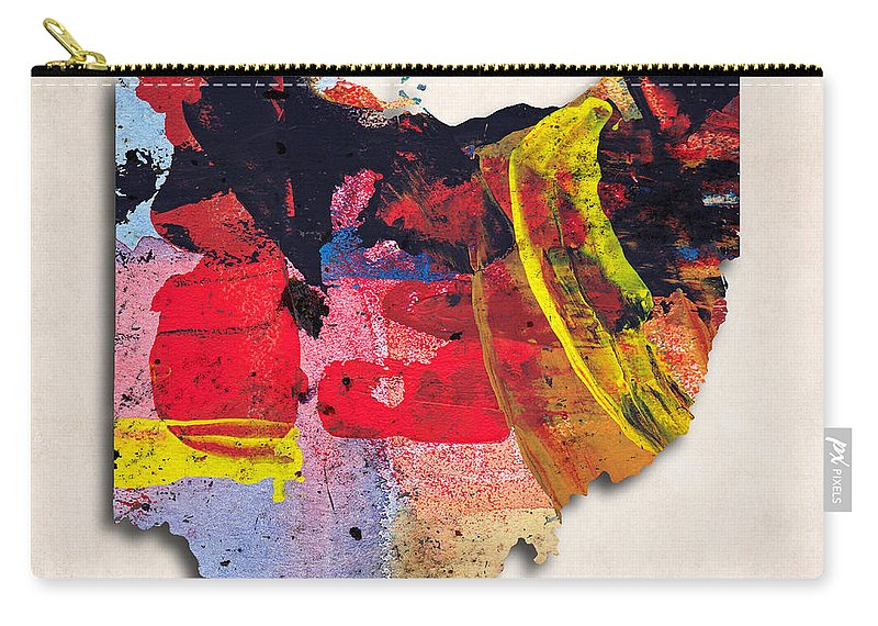 Ohio Carry-all Pouch featuring the digital art Ohio Map Art - Painted Map Of Ohio by World Art Prints And Designs