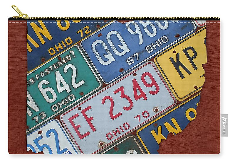 Ohio State Map Made Using Vintage License Plates Carry-all Pouch on map wall decor metal art, map made of books, map white on white art, map made of tools, map of united states license, map made of paper, map made of flowers, map made of buttons,