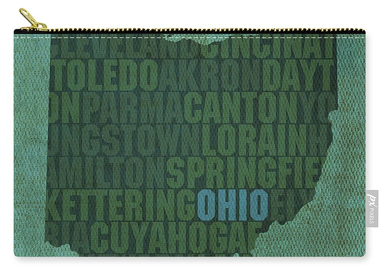 Ohio State Word Art On Canvas Carry-all Pouch featuring the mixed media Ohio State Word Art on Canvas by Design Turnpike