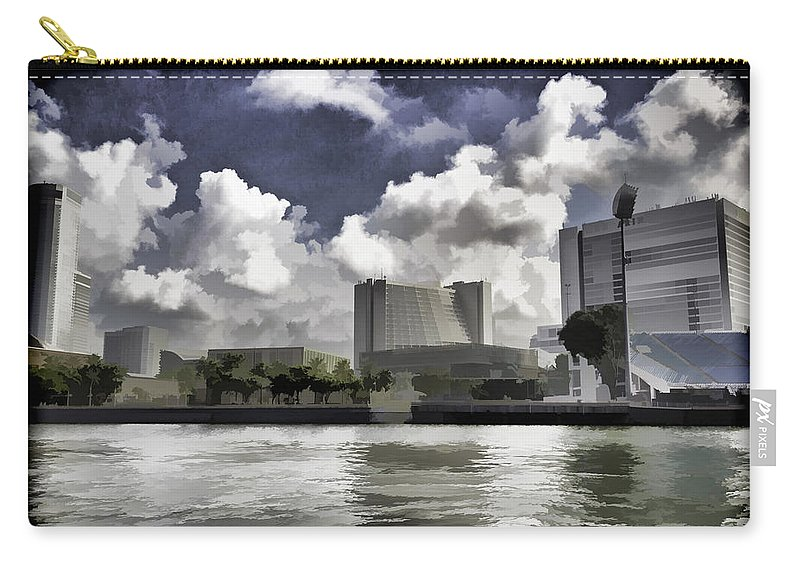 Action Carry-all Pouch featuring the digital art Oil Painting - Buildings Along The Waterfront In Singapore by Ashish Agarwal