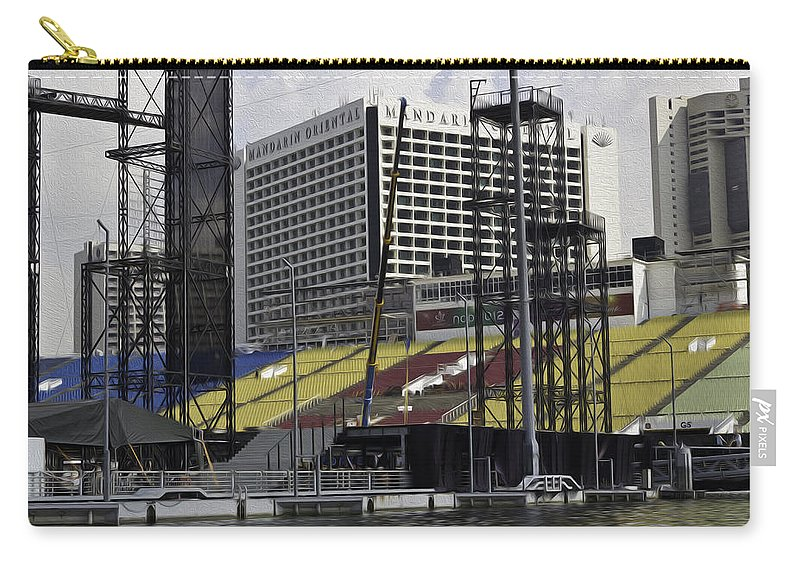 Action Carry-all Pouch featuring the digital art Oil Painting - Floating Platform And Construction Site In The Marina Bay Area by Ashish Agarwal