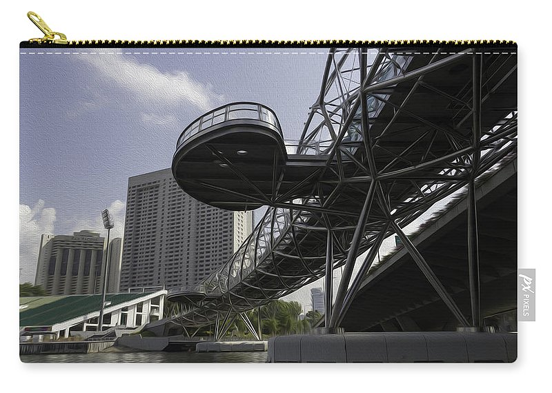 Action Carry-all Pouch featuring the digital art Oil Painting - The Bayfront Bridge And Helix Bridge In Singapore by Ashish Agarwal