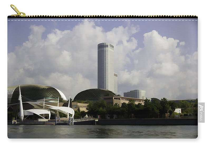 Action Carry-all Pouch featuring the digital art Oil Painting - The Swissotel Is A Tall Hotel In Singapore Next To The Esplanade by Ashish Agarwal