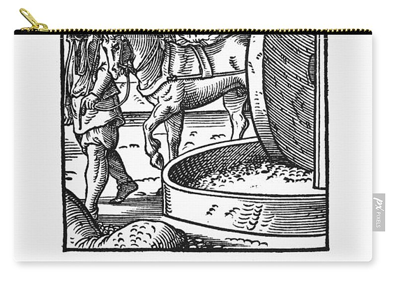 1568 Carry-all Pouch featuring the photograph Oil Press, 1568 by Granger