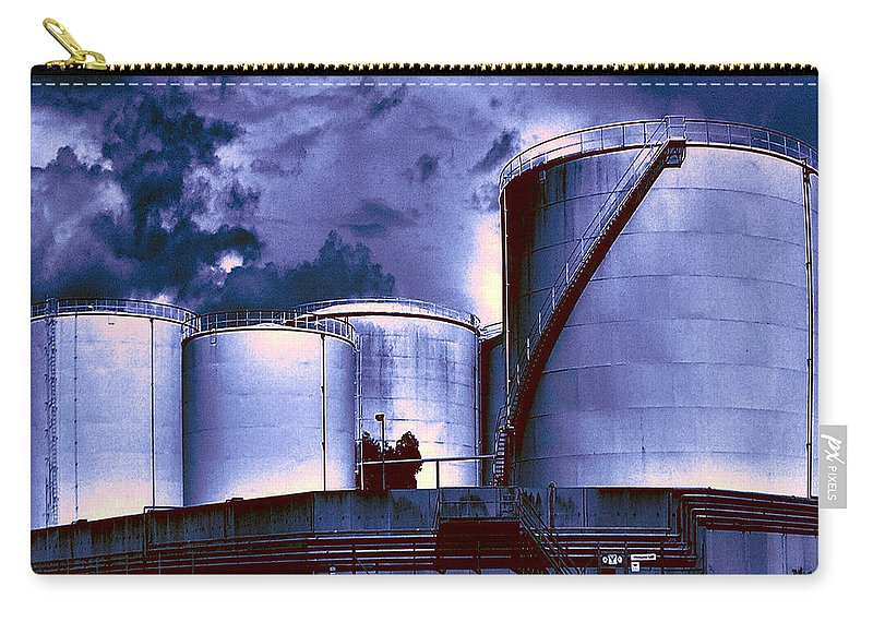 Oil Tanks Carry-all Pouch featuring the photograph Oil Storage Tanks 2 by Dominic Piperata