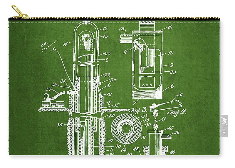 Well Drilling Carry-all Pouch featuring the digital art Oil Well Pump Patent From 1912 - Green by Aged Pixel