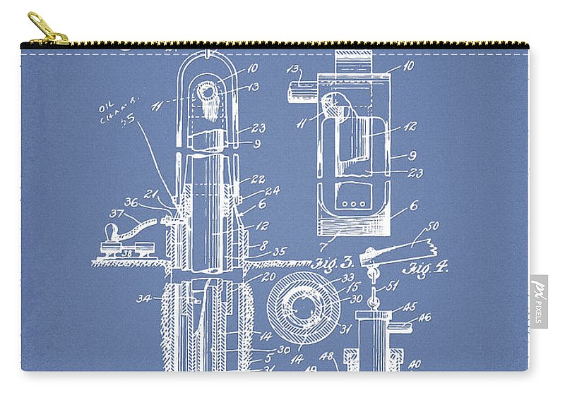 Well Drilling Carry-all Pouch featuring the digital art Oil Well Pump Patent From 1912 - Light Blue by Aged Pixel