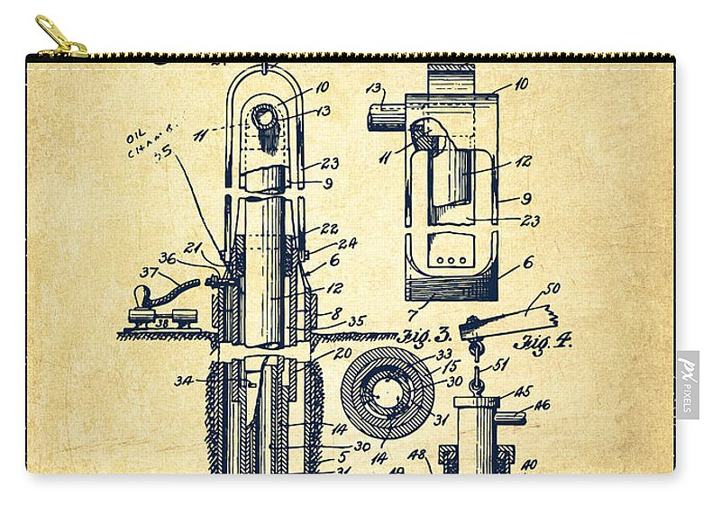 Well Drilling Carry-all Pouch featuring the digital art Oil Well Pump Patent From 1912 - Vintage by Aged Pixel