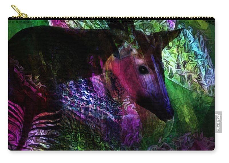 Okapi Carry-all Pouch featuring the digital art Okapi by David Derr