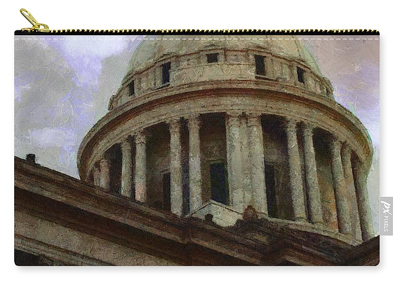Architecture Carry-all Pouch featuring the painting Oklahoma Capital by Jeffrey Kolker