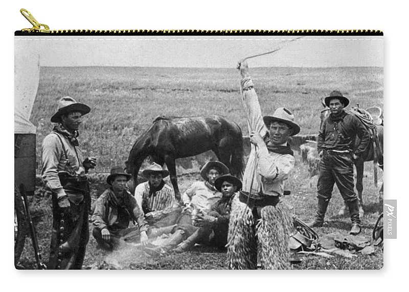 1905 Carry-all Pouch featuring the painting Oklahoma Cowboys, C1905 by Granger