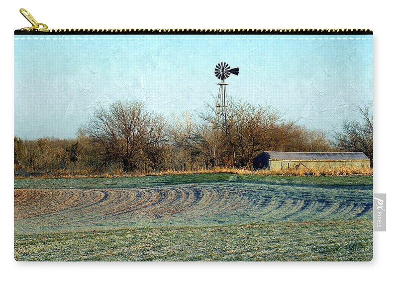 Oklahoma Carry-all Pouch featuring the photograph Oklahoma Farm In Winter by Annie Adkins