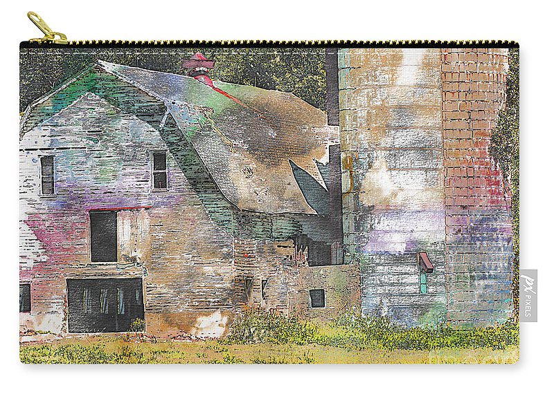 Rustic Carry-all Pouch featuring the photograph Old Barn And Silos Digital Paint by Debbie Portwood