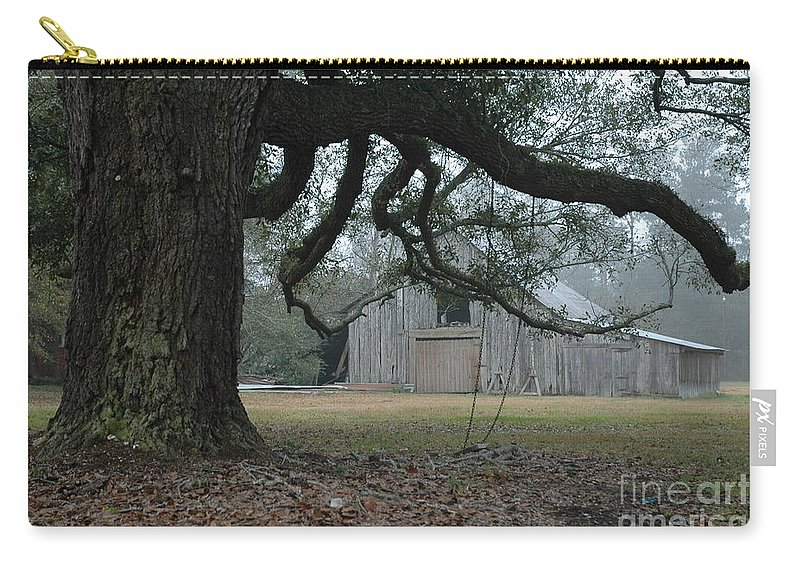 Fog Carry-all Pouch featuring the photograph Old Barn In Fog by Xyldia Grace