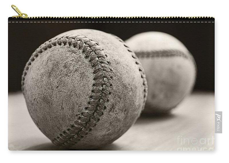 Ball; Sport; Baseball; Leather; Stitches; Red; White; Closeup; Used; Old; Vintage; Antique; Old Baseballs Carry-all Pouch featuring the photograph Old Baseballs by Edward Fielding