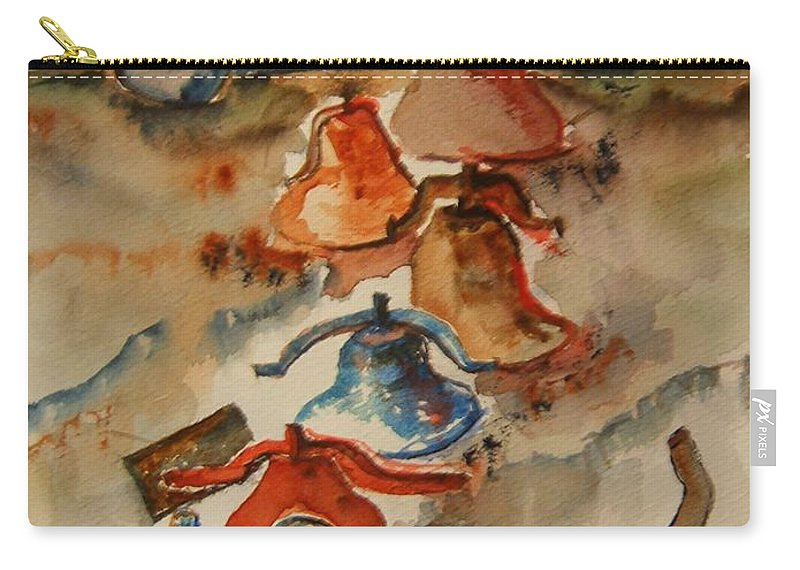 Bells Carry-all Pouch featuring the painting Old Bells To Pasture by Elaine Duras