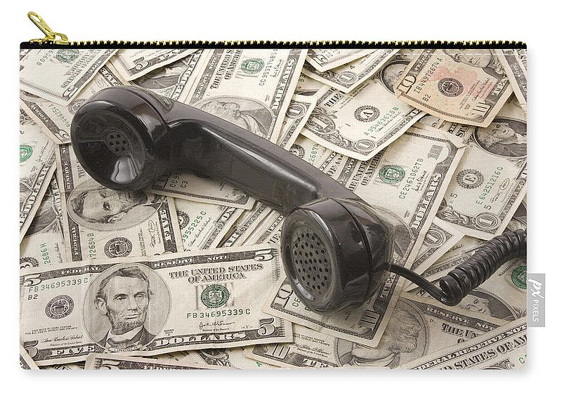 Currency Carry-all Pouch featuring the photograph Old Black Phone Receiver On Money Background by Keith Webber Jr