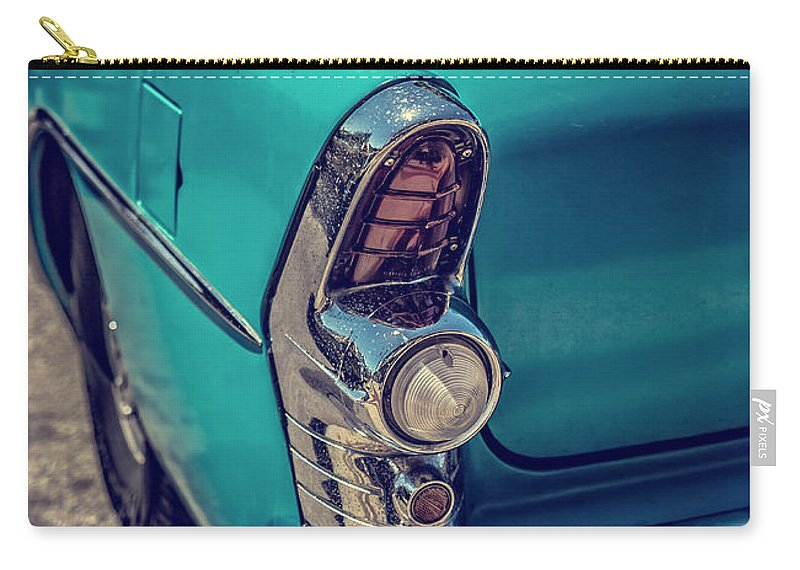 Car Carry-all Pouch featuring the photograph Old Blue Car by Edward Fielding