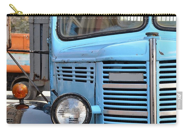 Truck Carry-all Pouch featuring the photograph Old Blue Jalopy Truck by Imran Ahmed