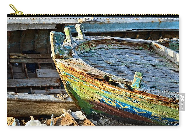 Lebanon Carry-all Pouch featuring the photograph Old Boat - Lebanese Artist Zaher El- Bizri by Zaher Bizri