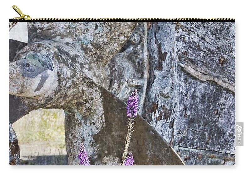 Boat Propeller Carry-all Pouch featuring the photograph Old Boat Propeller by Cathy Anderson