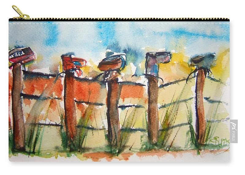 Boots Carry-all Pouch featuring the painting Old Boots On Old Fence by Elaine Duras