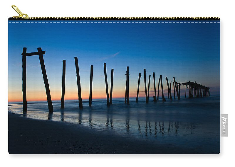 New Jersey Carry-all Pouch featuring the photograph Old Broken 59th Street Pier by Louis Dallara