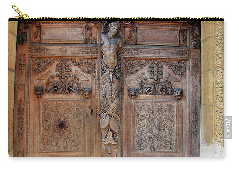 Door Carry-all Pouch featuring the photograph Old Carved Church Door by Christiane Schulze Art And Photography