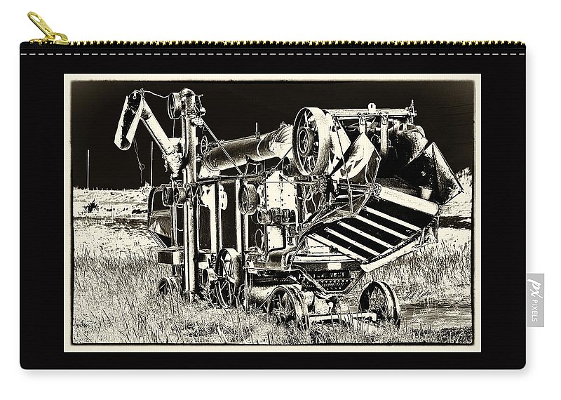 Bill Kesler Photography Carry-all Pouch featuring the photograph Old Case Thresher - Black And White by Bill Kesler