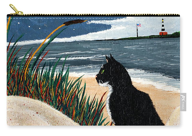 Beach Carry-all Pouch featuring the painting Old Cat And The Sea by Edward Fuller