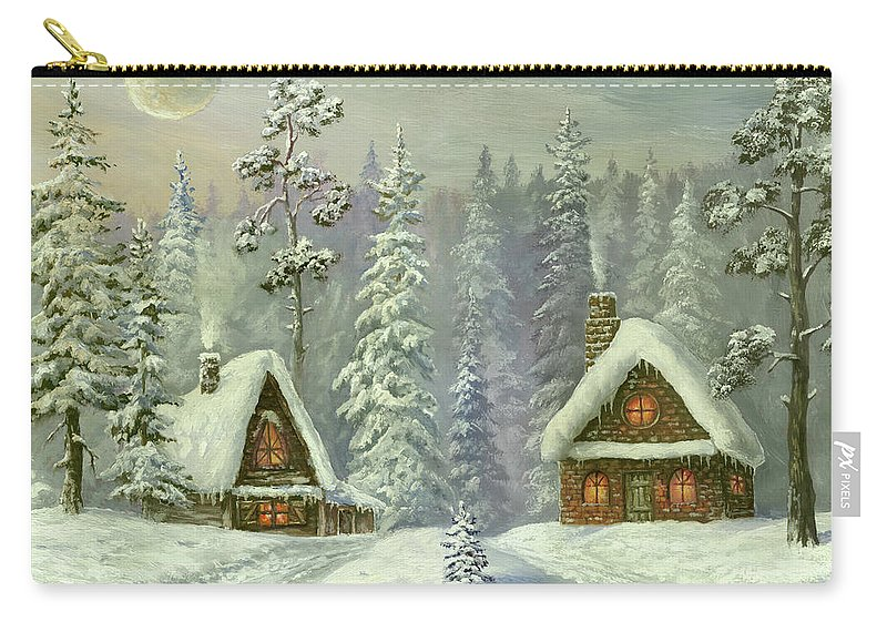 Art Carry-all Pouch featuring the digital art Old Christmas Card by Pobytov